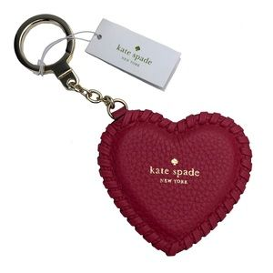 KATE SPADE ♠️ Whipstitch Leather Heart Keychain!